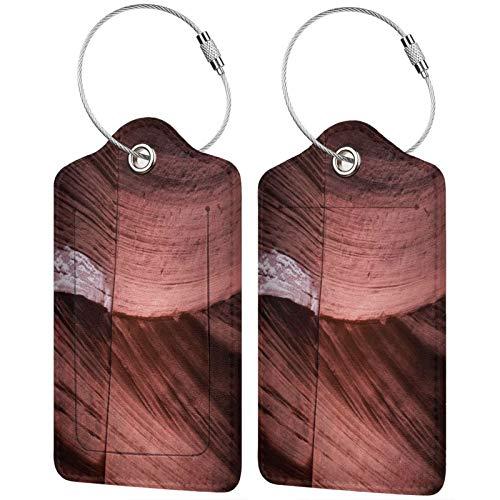 FULIYA Juego de 2 etiquetas de equipaje seguras de alta gama de cuero para maletas, tarjetas de visita o bolsa de identificación de viaje, Cañón, cueva, roca, piedra, textura