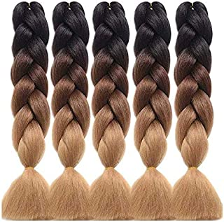 60 cm Braiding Hair Jumbo Braidis Three Color Corchet Twist High Temperature Synthetic Hair Extensions (5pcs, Black-Dark B...