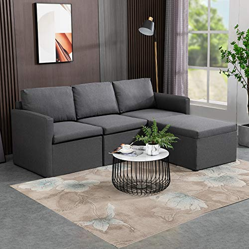 MU L-Shaped Reversible Sectional Sofa Couch for Small Apartment, 3-Seat Corner Couches for Living Room, Grey