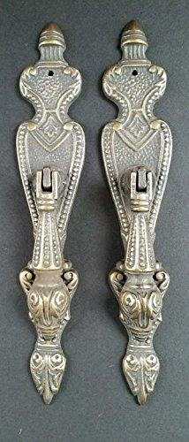 2 Lg.Ornate Vertical Teardrop Brass Handle Drawer Pulls 5 7/8' #H19
