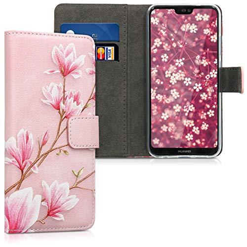 kwmobile Wallet Case kompatibel mit Huawei P20 Lite - Hülle mit Ständer Kartenfächer Magnolien Rosa Weiß Altrosa