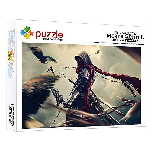 Puzzle Puzzles Madera Recomendado para Amigo Niños Adultos Puzzle 1000 Piezas Guerrero Arco Y Flecha Puzzles Adultos 1000 Piezas Rompecabezas Educativo 52X38Cm