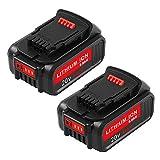6.0Ah Replace for Dewalt 20V Battery for Dewalt 20 Volt DCB200 DCB201 DCB203 DCB204 DCB205 DCB207 Cordless Power Tools (2Packs)
