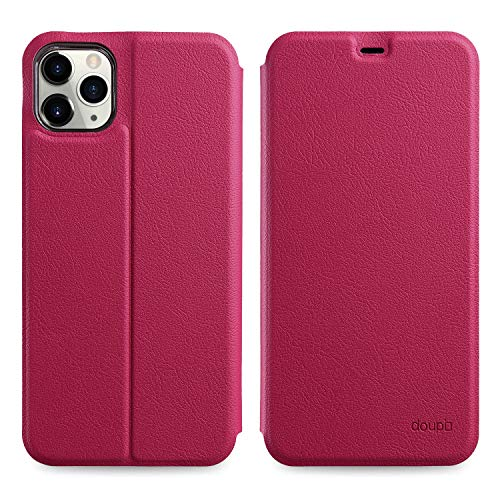 doupi Flip Case für iPhone 11 Pro MAX (6,5 Zoll), Deluxe Schutz Hülle mit Magnetischem Verschluss Cover Klapphülle Book Style Handyhülle Aufstellbar Ständer, rot pink