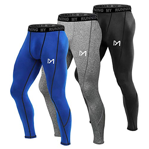 MEETYOO Leggings Uomo, Calzamaglie Sportive Pantaloni Fitness Compressione Baselayer per Jogging Ciclismo Running