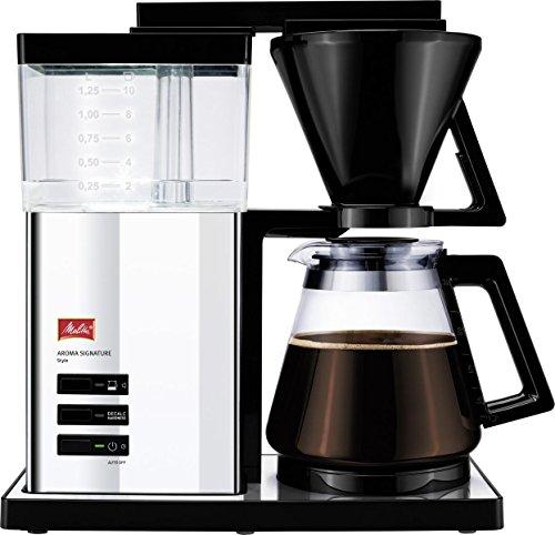 Melitta AromaSignature DeLuxe 100704, ekspres do kawy z filtrem, ze szklanym dzbankiem, metoda parzenia na gorąco, styl/stal nierdzewna, filtr do kawy, 1,2 l, chrom