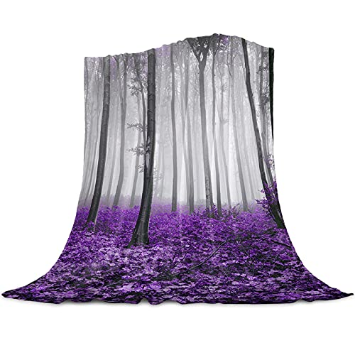 Bed Throws Blankets Autumn Forest Wildlife Leaf, Flannel Fleece Lightweight Throw Blanket for Couch/Living Room/Bedroom, Cozy Warm Blankets for Kids Women Men 50x80 Inch Queen Size, Lavender Purple