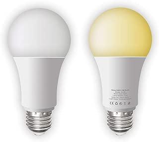 MXQ Smart Light Bulb E26/E27 WiFi Cold Warm Light LED Bulb Work with Alexa Echo Google Assistant, No Hub Required, 2700-6500K 11W 1000 LM Remote Control WiFi Smart Bulb 2 Pack
