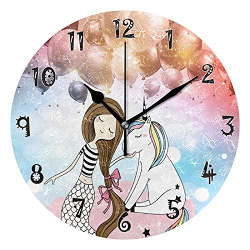 JUMBEAR - Reloj de pared con diseño de unicornio de sirena, silencioso, funciona con pilas, números árabes precisos, decoración para el hogar para cocina, sala de estar, 25 cm