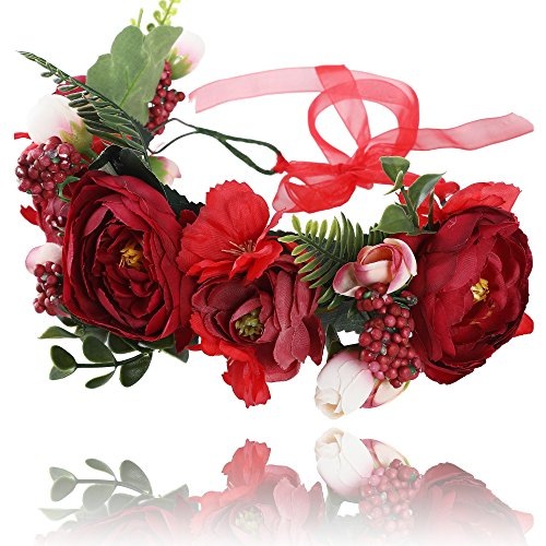 AWAYTR Blumen Stirnband Hochzeit Haarkranz Krone - Frauen Mädchen Blumenkranz Haare für Hochzeit Party(Rot + Dunkelrot)