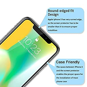 iPhone X Screen Protector [3 Pack] - HD Tempered Glass Screen Protector with [Guide Frame Easy Installation] [Case Friendly] [Anti-Scratch] for Apple iPhone X / 10