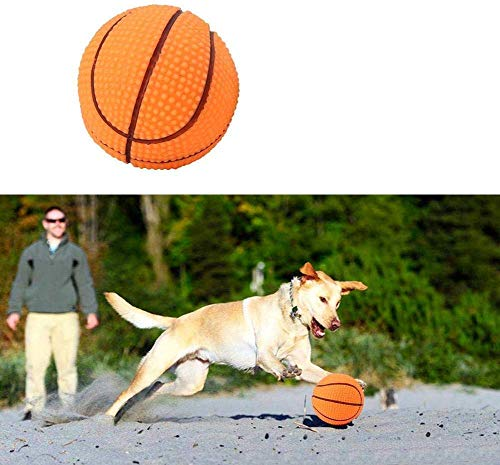 HEEPDD hond speelgoed ballen, huisdier training spelen kauwen rubberen ballen interactieve beet weerstand piepende bal voor huisdieren puppy hond kat beloning etch spelen, Basketbal