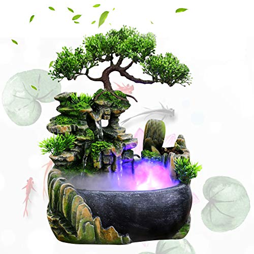 Desktop Fountain Waterfall Decor, Atomizing Desktop Humidifier for Office Home Desk Decoration - A Great Gift(US Plug)