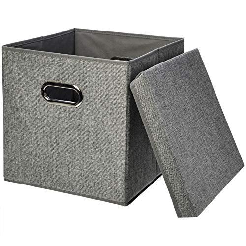 Amazon Basics - Cubi portaoggetti pieghevoli, in iuta - Confezione da 2