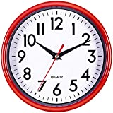Bernhard Products Red Wall Clock 8' Silent Non-Ticking...