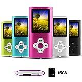 Btopllc MP3/MP4 Lecteur de Carte MP3 16 Go Lecteur de Musique Hi-FI 1,7 Pouces Lecteur LCD MP3/MP4 Lecteur média avec Mini...
