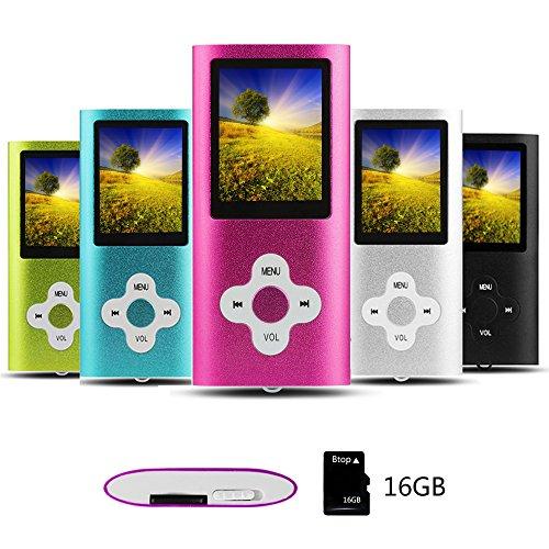 Btopllc Reproductor de MP3 Reproductor de MP4 Reproductor de música Digital Tarjeta de Memoria Interna de 16GB Reproductor de música portátil/Compacto MP3/MP4/Reproductor de Video - Blanco Polvo