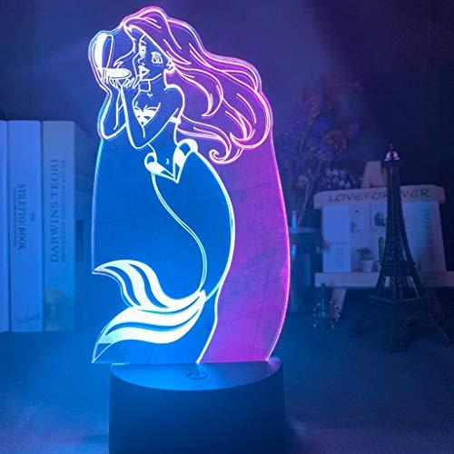 Prinzessin die kleine Meerjungfrau Baby Doppel Ariel Nachtlicht 3D LED Tischlampe Kinder Geburtstagsgeschenk Nachtzimmer Dekoration