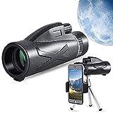 Bierglaks Telescopio monocular 12x50 actualizado 2021 - Monocular HD con Soporte para teléfono Inteligente y trípode Monocular Impermeable con para observación de Aves, Camping, Senderismo