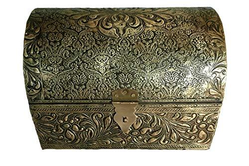 Baul de India, labrado en Metal Dorado, 20x14x14 cm