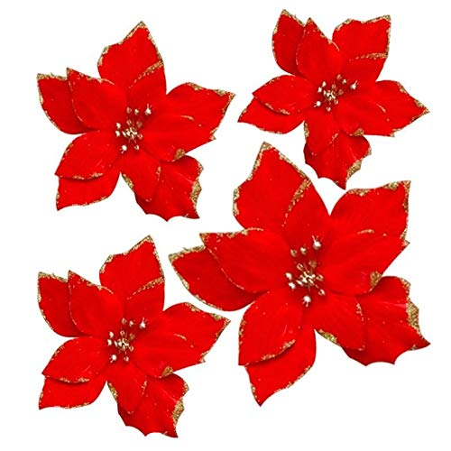 XYJIE 12Pcs Glitter Artificial Boda Flores de Navidad Glins Poinsettia Adornos para árboles de Navidad Dia 5.3 Pulgadas (Rojo)