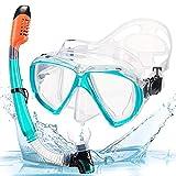 JUYHTY Dry Top Snorkel Set Máscara De Buceo De Vidrio Templado Máscara De Buceo Impermeable Y Antivaho para Adultos Y Niños