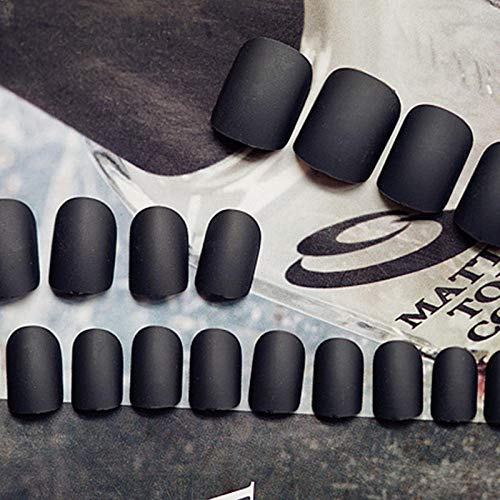 CLOAAE 24 Pieces Black Full Cover Matte False Nails Short Round Head Soft Solid Color Oval Scrub False Nail Artificial Nail Art Tips