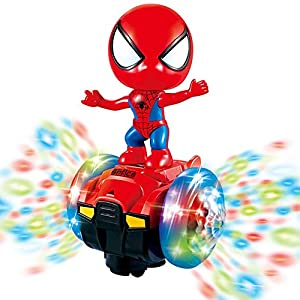 Dancing Spider-Man Robot Toys, Spin Robot Interactive Toy Car with Colorful Flashing Lights & Music, Interactive…