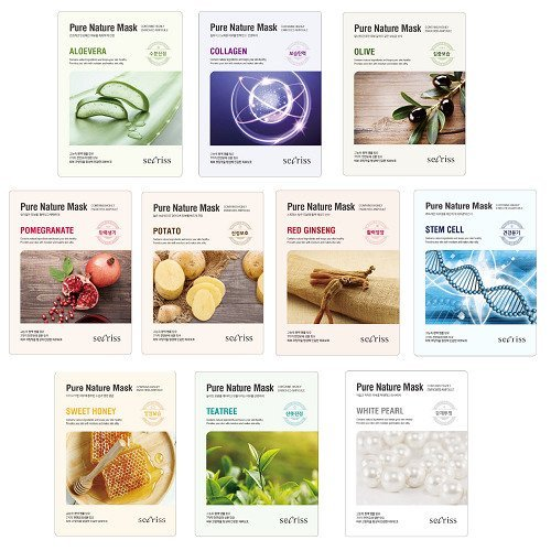 Secriss Korea - Pure Nature Mask Full Face Facial Mask Sheet 25ml 10 Combo Pack
