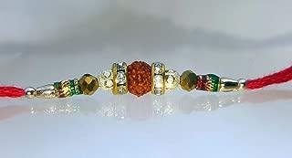 Rakhi for Brother, Rudraksha and Multi Beads/Stone Design RK-R009-1