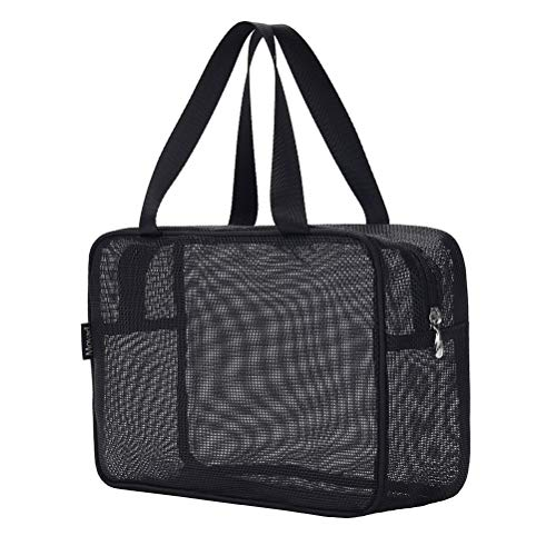 Moyad Mesh Shower Caddy Portable Toiletry Tote Gym Bag for College Dorm Bathroom (Black Large)