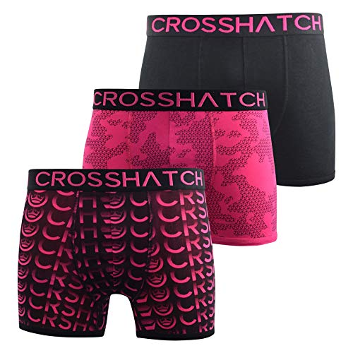 CrossHatch Mens Boxers Shorts Multipacked 3PK Underwear Gift Set 3 Pack Saunton(XL,Pink)