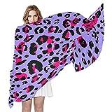 QMIN - Bufanda de seda con estampado de leopardo, diseño de piel de leopardo, largo y ligero, para mujeres y niñas