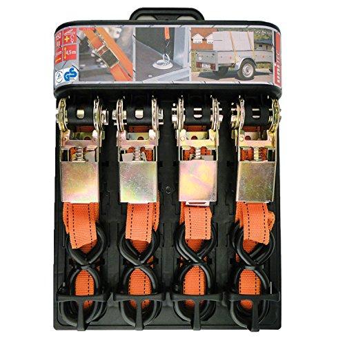 Unitec 75258 Verzurrgurt-Set, 4-teilig, 150 kg, TߜV/GS