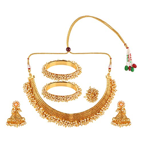 Efulgenz Indian Bollywood 14 K Gold Plated Faux Pearl Bead Bridal Choker Necklace Earrings Bracelet Bangles Ring Jewellery Set