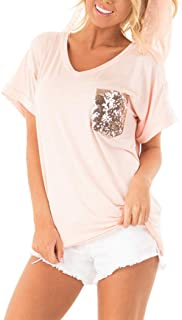 Minthunter Women's Casual Basic Tops Short Sleeve V Neck T Shirt with Sequin/Leopard Pocket