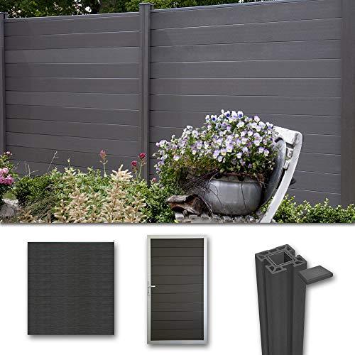 terrasso WPC/BPC Sichtschutzzaun Dark Grey 1 Zaun, 1 Torelement inkl. 3 Pfosten Sichtschutz Gartenzaun