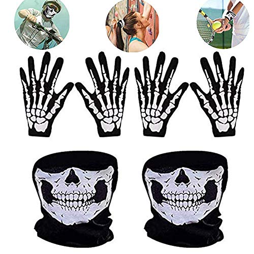 WYMAODAN Totenkopf-Gesichtsmaske und weiße Skelett-Handschuhe Knochen Sturmhaube Weihnachten Geister-Handschuhe für Erwachsene Männer Frauen Halloween Tanzparty