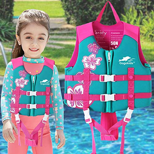 OldPAPA Kids Swim Vest -Baby Life Jacket Printed Float Jacket Vest Buoyancy Swimwear with Adjustable Safety Strap, Suitable for 1-9 Year