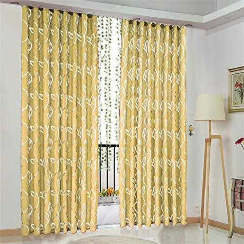 Hunpta @ 2 Stück Voile Vorhang mit Ösen Reben Blätter Muster Transparent Gardine Ösenschal Wohnzimmer Schlafzimmer Fenstervorhang Fenster Dekor, 100 x 130cm