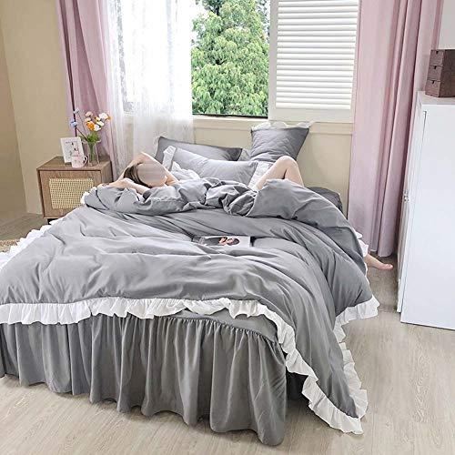 無地 グレー掛け布団カバー/ベッドスカート/枕カバー 綿100% ダブル