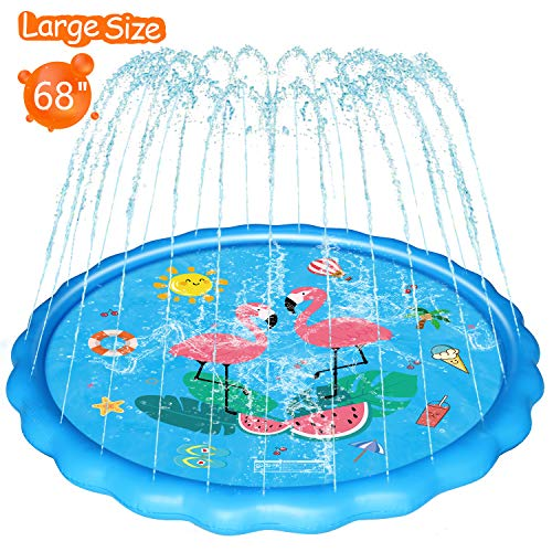 WOWGO Splash Pad for Kids - Upgraded 68' Children's Sprinkler Play Mat Summer Outdoor Water Pool Toys Wading Pool for Toddlers Baby, Outside Water Play Mat for 2-12 Years Old Children Boys Girls
