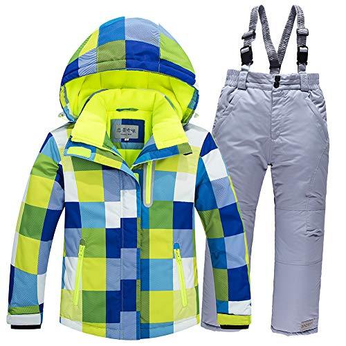 LSERVER Jungen und Mädchen Winddicht wasserdicht gepolsterten Skianzug zweiteilig Skijacke + Skihose, Blaues Top + Silberne Hose, 116(Fabrikgröße: 120 cm)