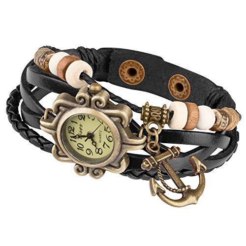 Taffstyle Damen-Armbanduhr Analog Quarz mit Leder-Armband Geflochten Charms Anhänger Uhr Retro Vintage Anker Gold Schwarz