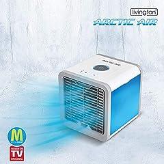 MediaShop Livington Arctic Air - Refroidisseur d'air avec refroidissement par évaporation - Climatiseur mobile avec 3 niveaux et 7 lumières d'ambiance - Mini climatiseur avec volume de réservoir pour 8h de refroidissement