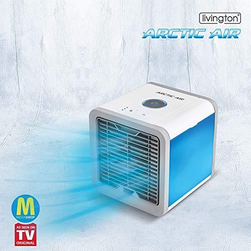 MediaShop Livington Arctic Air – Luftkühler mit Verdunstungskühlung – Mobiles Klimagerät mit 3 Stufen und 7 Stimmungslichtern – Mini Klimagerät mit Tankvolumen für 8h Kühlung - 8