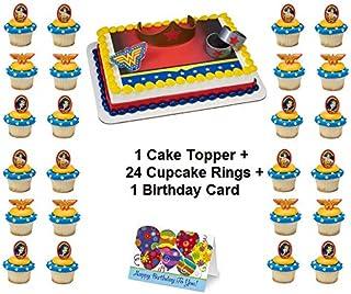 WONDER WOMAN JUSTICE LEAGUE Cake Topper Set Cupcake 24 Pieces plus Birthday Card