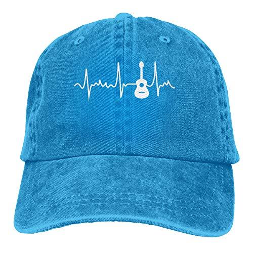 David A Beltran Guitar Heartbeat Printed Denim Hat Sombreros de béisbol Vintage Ajustables Denim Casquette para Hombres Mujeres