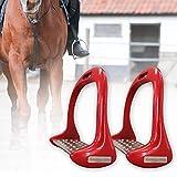 LYXMY Steigbügel für Pferde, 3D breite Spuren, Aluminium, Druckguss, verdickt, rutschfest, flexibel, für Pferde, rot, Free Size