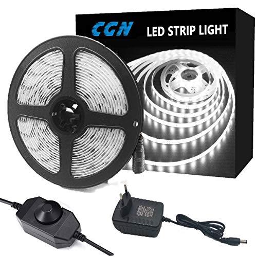 LED Strip Dimmbar,CGN 5m LED Streifen Kit mit 12V Netzteil, 6500K 300 LEDs Lichtband Kaltweiß, 2835 SMD Led Band Leiste Innenbeleuchtung für Spiegel Deko Party Küche Weihnachte